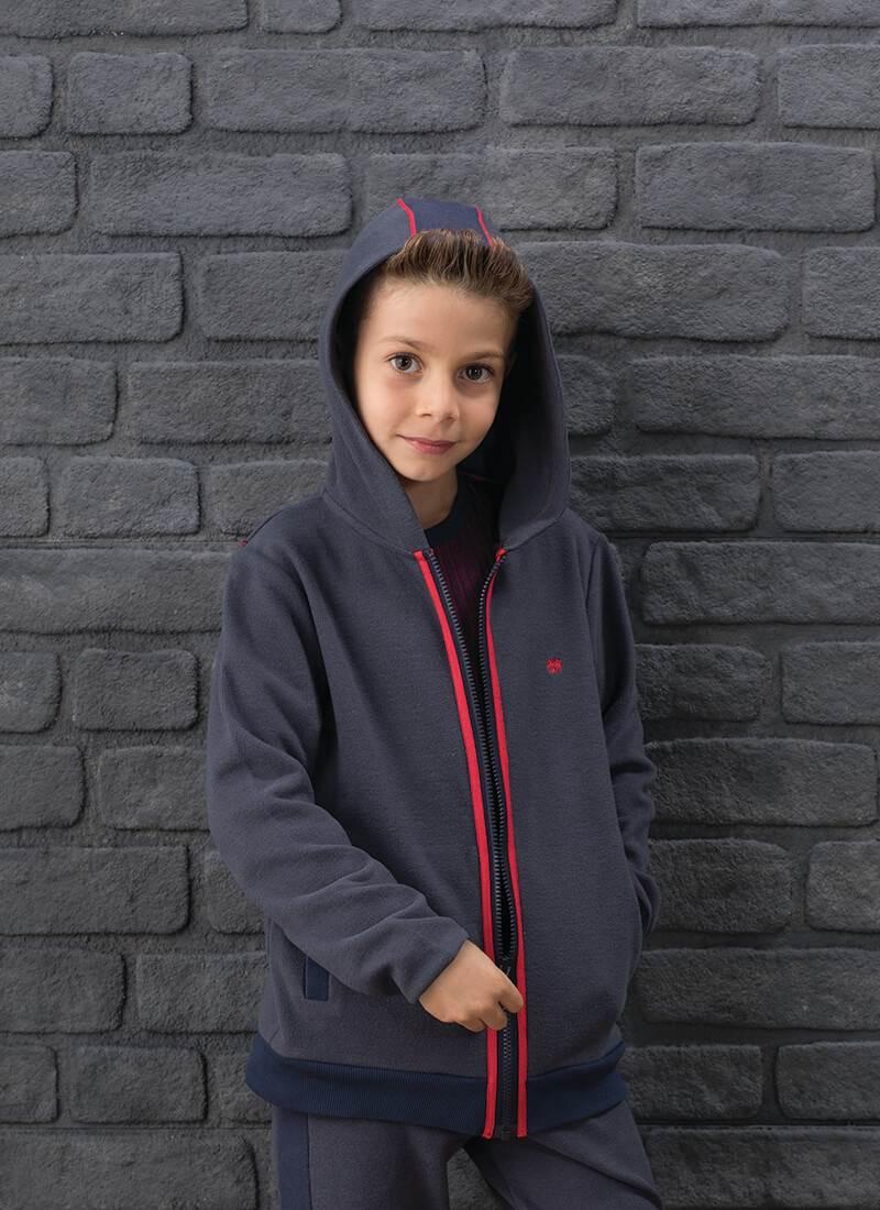 Erkek Çocuk Hoodie 7566 - Antrasit Lacivert