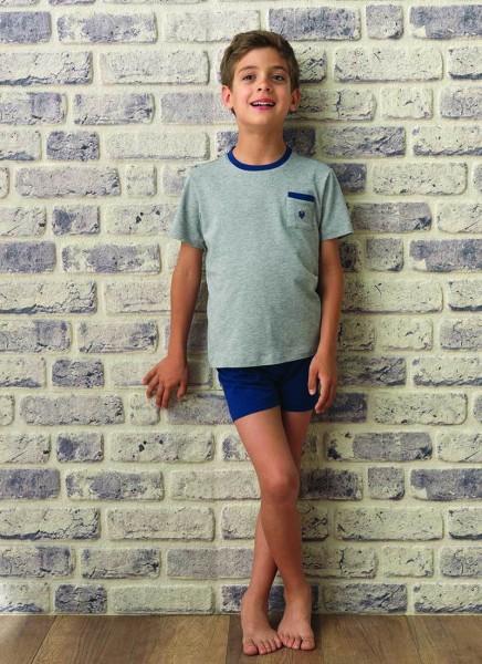 Blackspade Erkek Çocuk Pijama Takımı 7520 - Gri Melanj