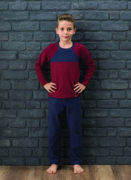 Blackspade Erkek Çocuk Pijama Takımı 7565 - Lacivert Bordo