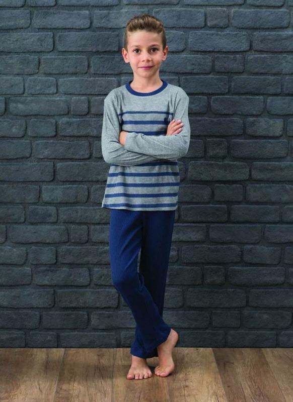 Erkek Çocuk Pijama Takımı 7571 - Gri Melanj Denim