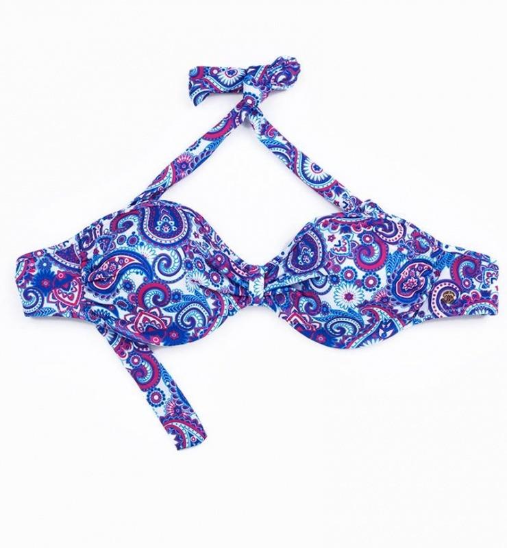 Kadın Bikini Üst 8247 - Mavi Şal Desenli