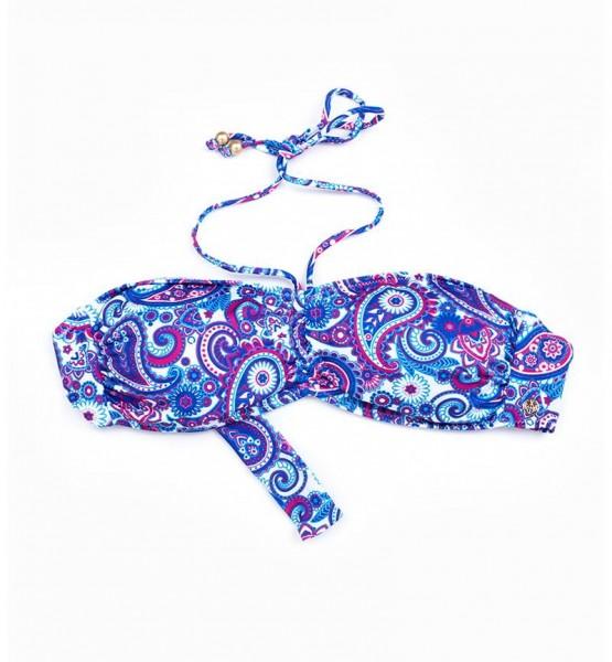 Blackspade Kadın Bikini Üst 8249 - Mavi Şal Desenli