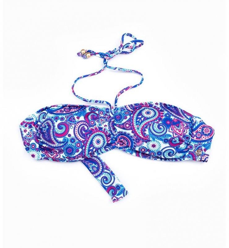 Kadın Bikini Üst 8249 - Mavi Şal Desenli
