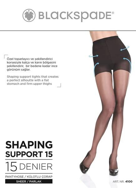 Blackspade - Kadın Külotlu Korse Çorap 4100 - Koyu Ten