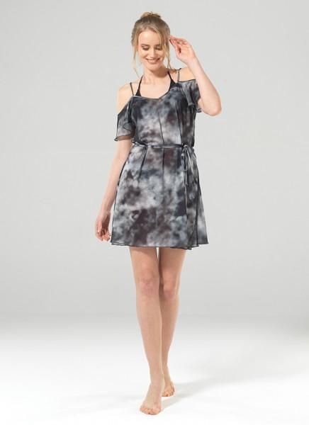 Blackspade Kadın Plaj Elbise 8870 - Siyah Batik Baskılı Gri