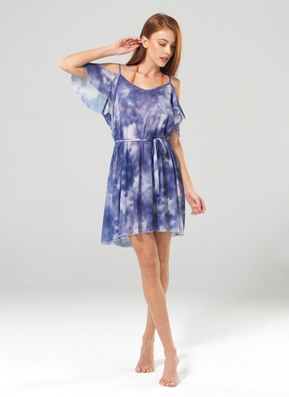 Kadın Plaj Elbise 8870 - Mor Batik Baskılı Mavi