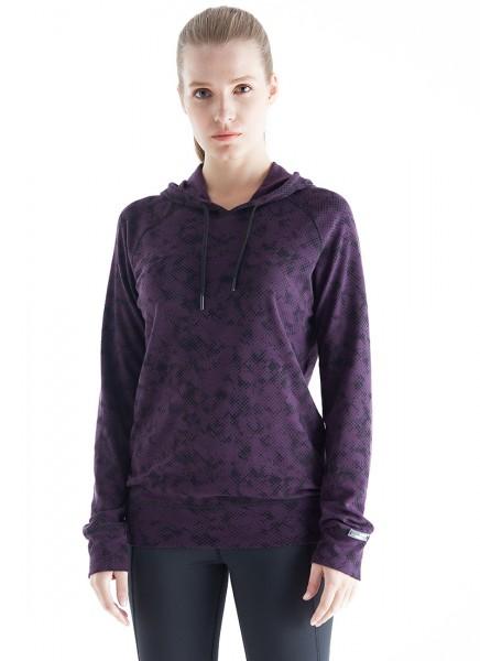 Blackspade Kadın Termal Kapşonlu Sweatshirt 2. Seviye 6194 - Böğürtlen Rengi Desenli