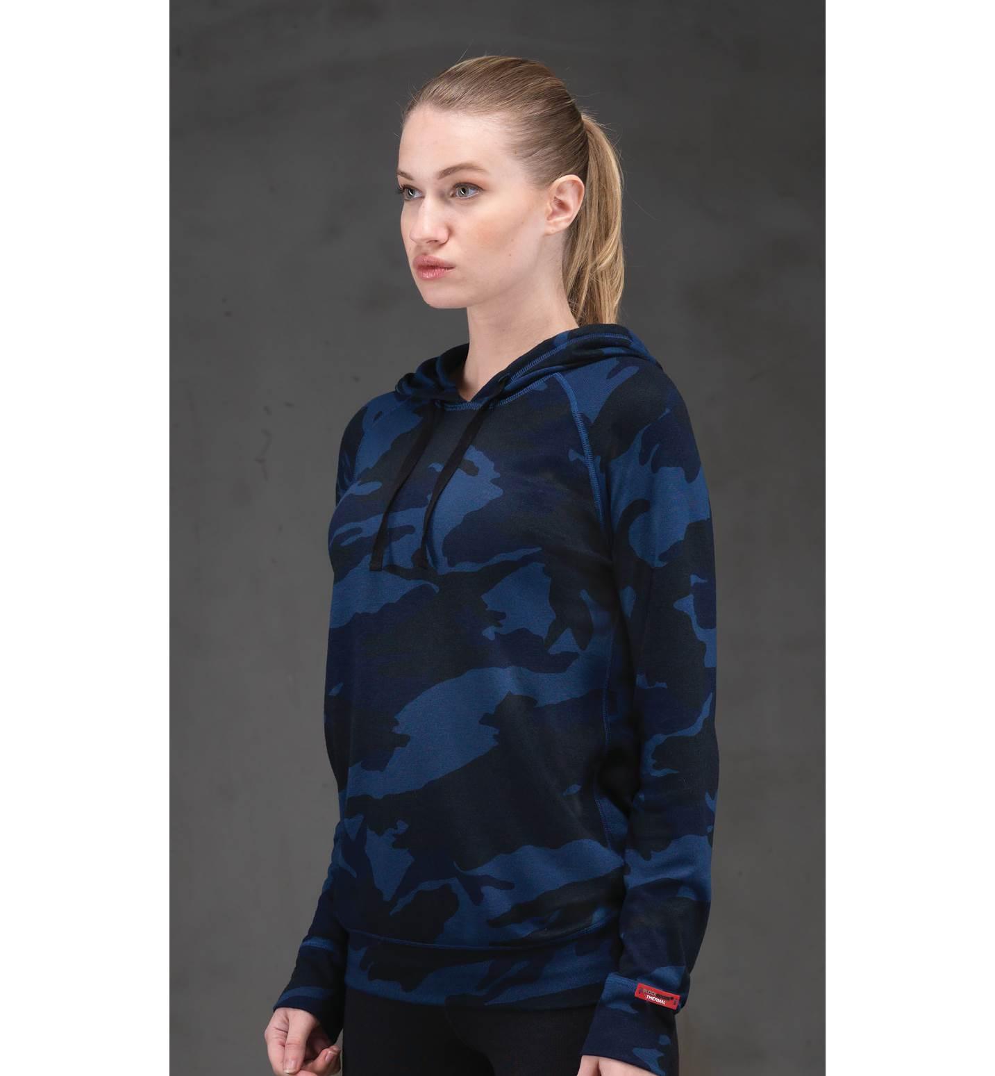 Kadın Termal Kapşonlu Sweatshirt 2. Seviye 6194 - Mavi