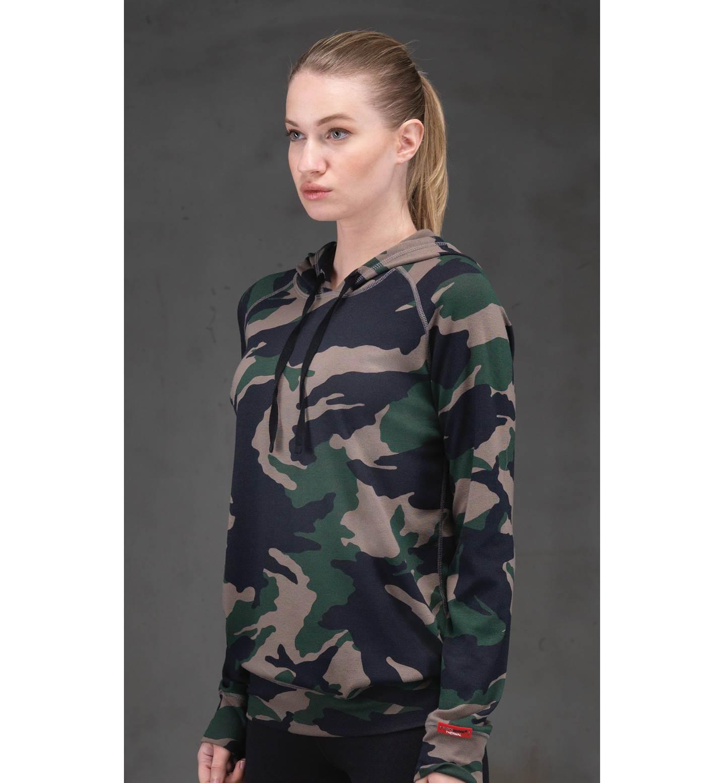 Kadın Termal Kapşonlu Sweatshirt 2. Seviye 6194 - Yeşil