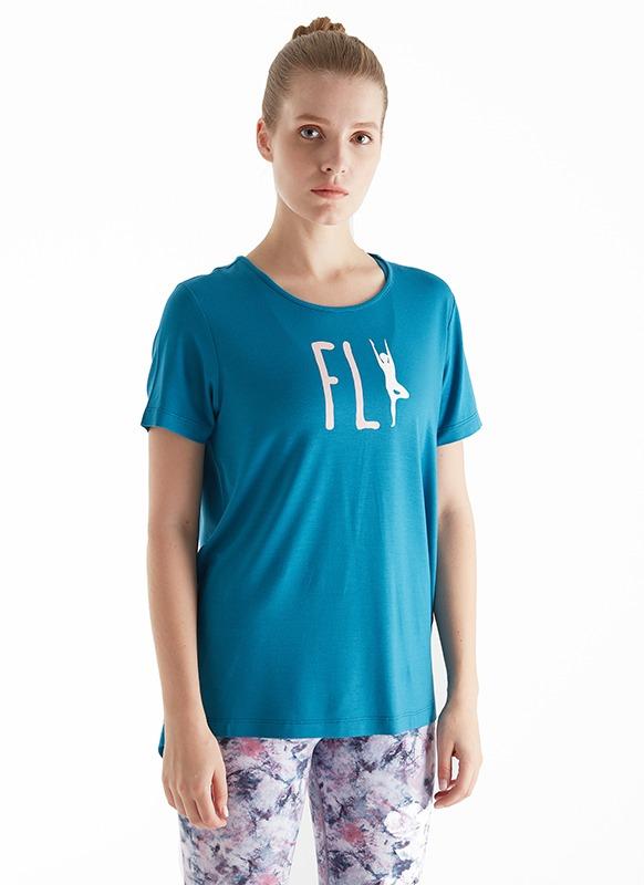 Kadın Yoga Tişört 70084 - Mavi