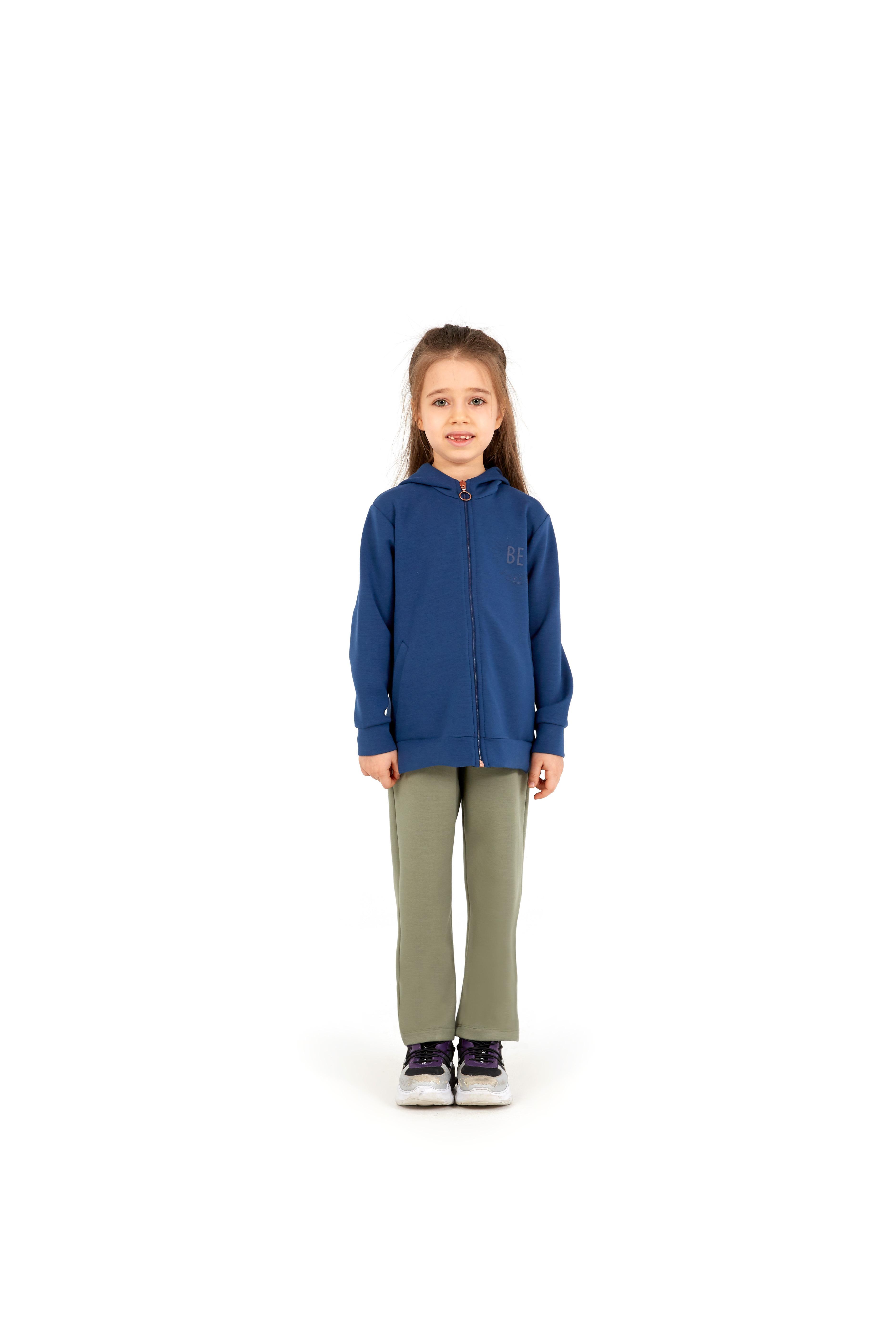 Kız Çocuk Fermuarlı Kapşonlu Sweatshirt 60052 - Lacivert - Thumbnail