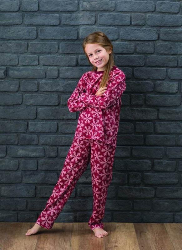 Kız Çocuk Pijama Takımı 6136 - Kar Tanesi Baskılı