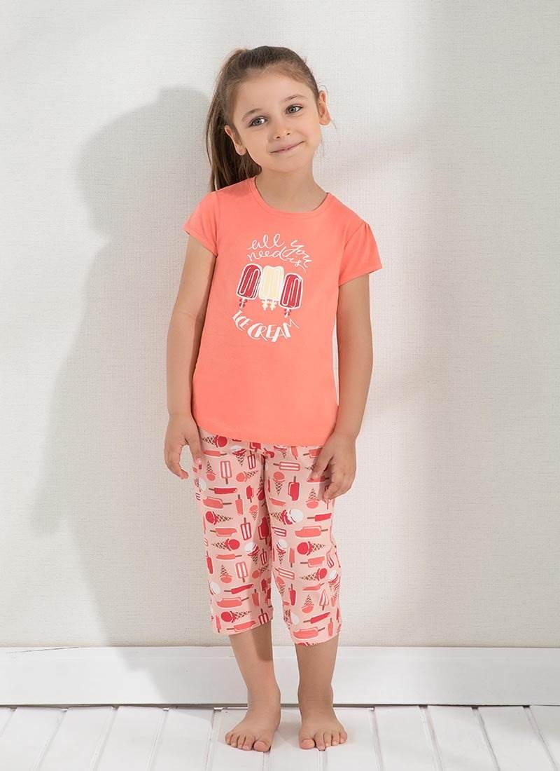 Kız Çocuk Pijama Takımı 6294 - Şeftali