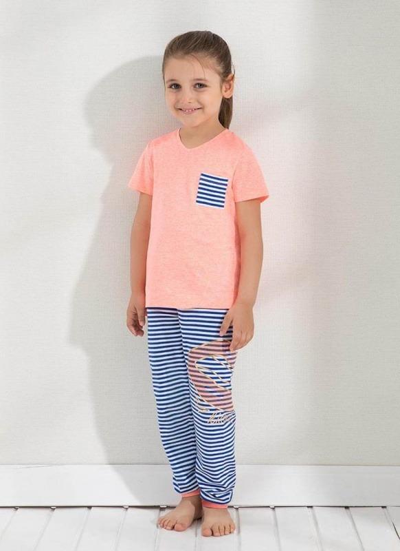 Kız Çocuk Pijama Takımı 6302 - Turuncu