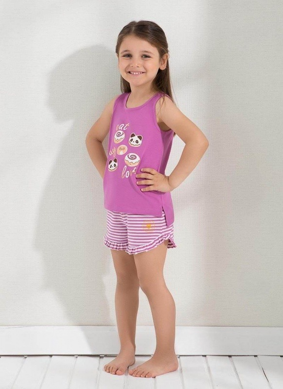 Kız Çocuk Şort Pijama - Set 6291 - Fuşya
