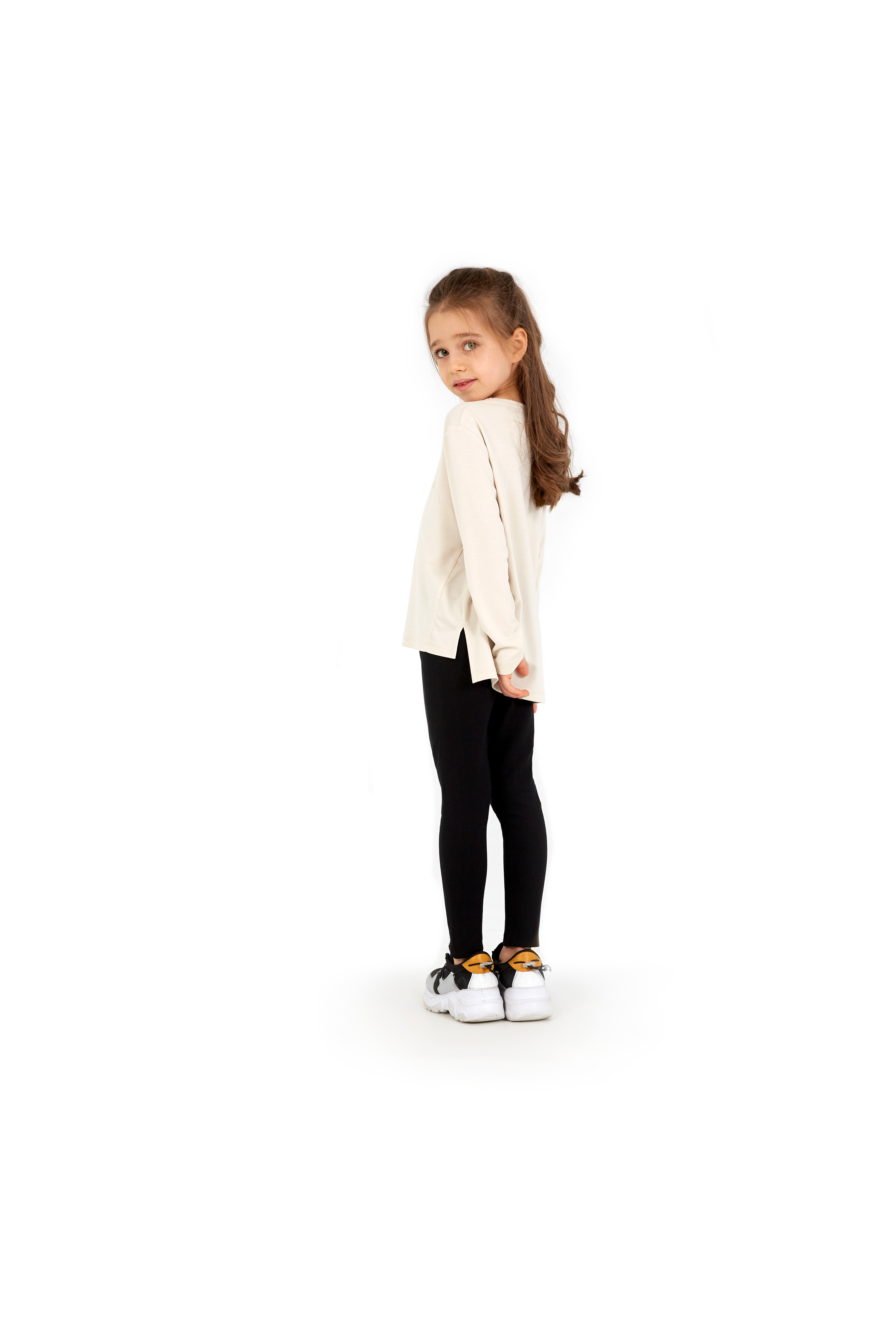 Kız Çocuk Sweatshirt 60048 - Bej - Thumbnail
