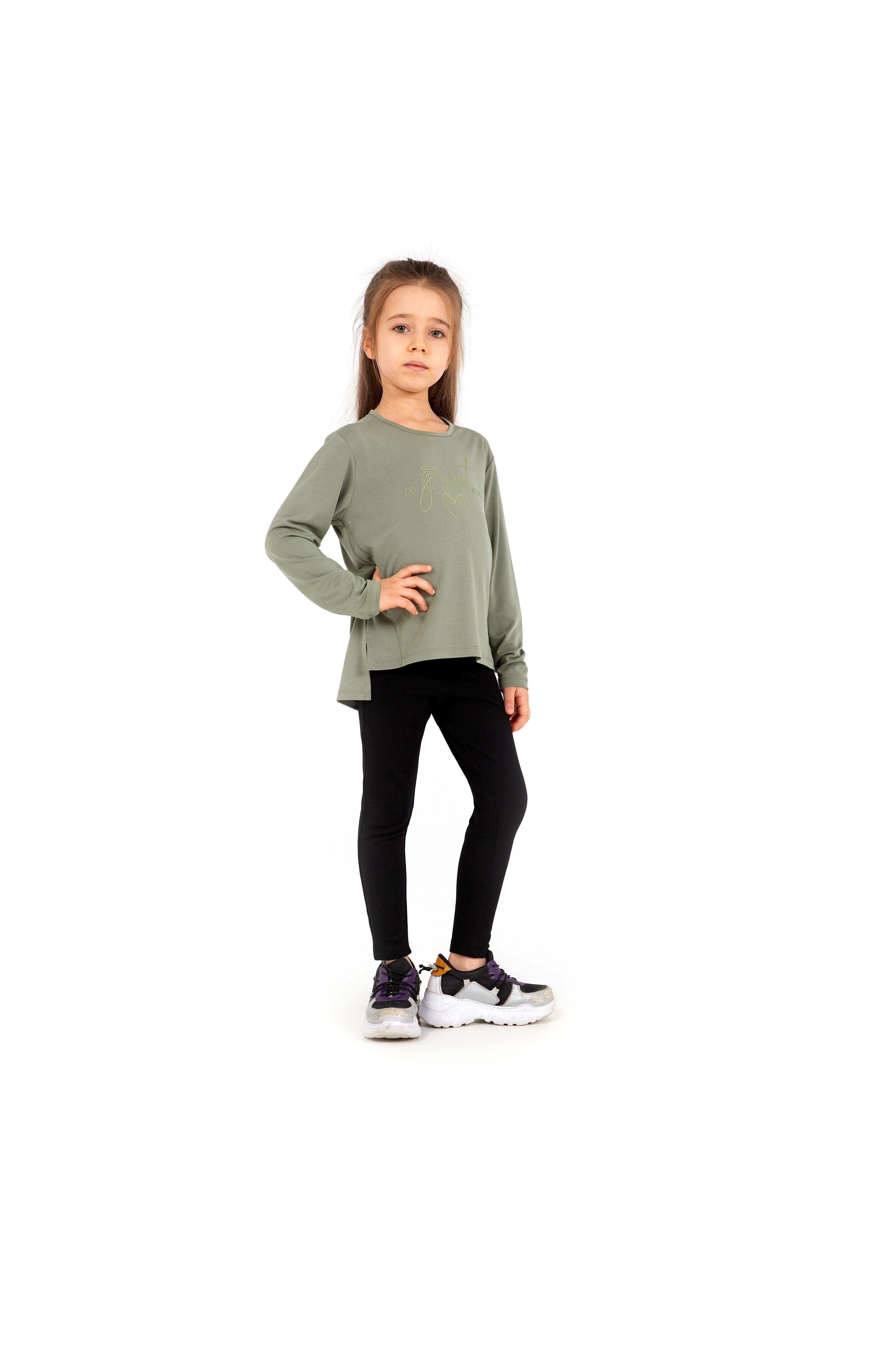 Kız Çocuk Sweatshirt 60048 - Haki - Thumbnail